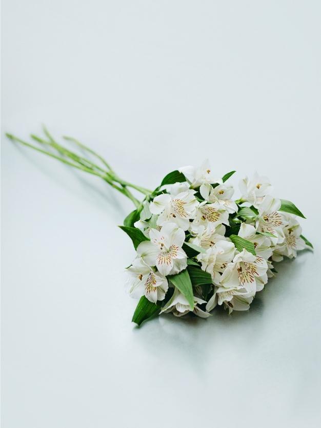 Ramo flores alstroemerias blancas detalle bonito