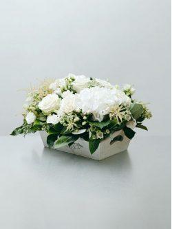 Centro flores blancas regalo